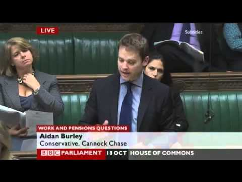 Work and Pensions Question by local MP Aidan Burley in House of Commons 18/10/2010