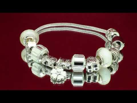 """Мягкий браслет в стиле Pandora с эмалью """"Белая примула на лугу"""""""