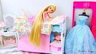 💙BARBIE DOLL MORNING ROUTINE💙BUNK BED PRINCESS BEDROOM RAPUNZEL ELSA FROZEN💙BATHROOM KITCHEN