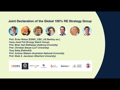 Joint Declaration of The Global 100% RE Strategy Group at CleanTech Business Club Thought Leaders