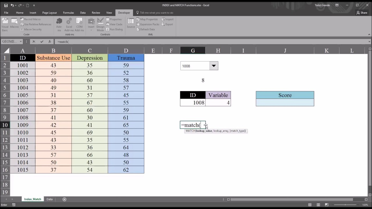 Index And Match Functions In Excel To Return Value In