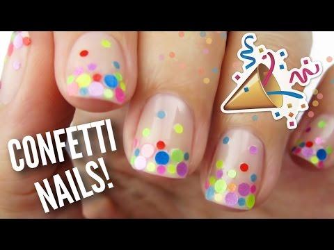 DIY Party Nails Using REAL Confetti!