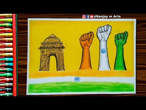Republic Day 2020 Drawing with Oil Pastels - Very Easy step by step tutorial for beginners