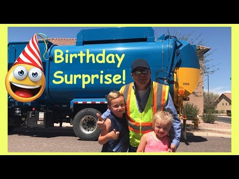 Boy's Trash Can Birthday Surprise | Garbage Truck Video For Kids