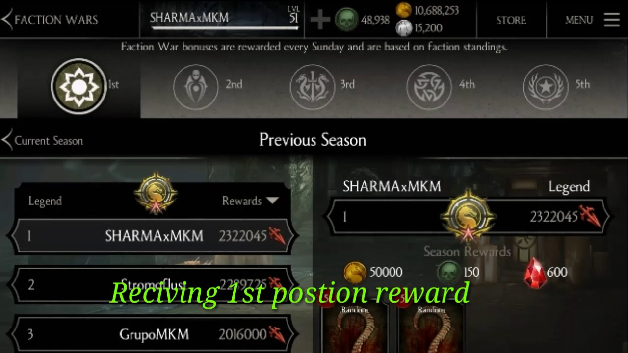 MKX MOBILE- Rank 1° Reward in Faction War