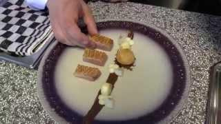 Preparations of a starter at the Michelin star De Kristalijn in Belgium
