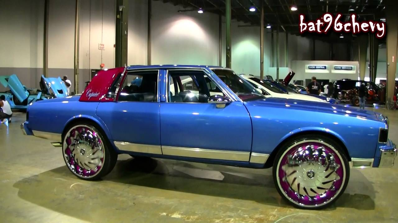 "Blue/Pink Box Chevy Caprice LS on 28"" DUB BLANG Spinners ..."