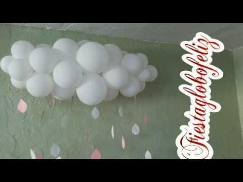 Como hacer una nube con globos para baby shower