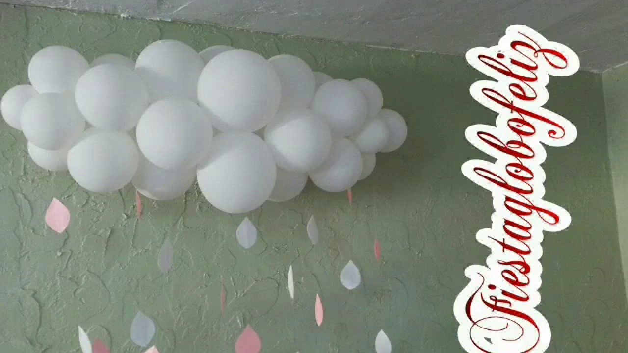 Como hacer una nube con globos para baby shower youtube for Como hacer decoracion con globos