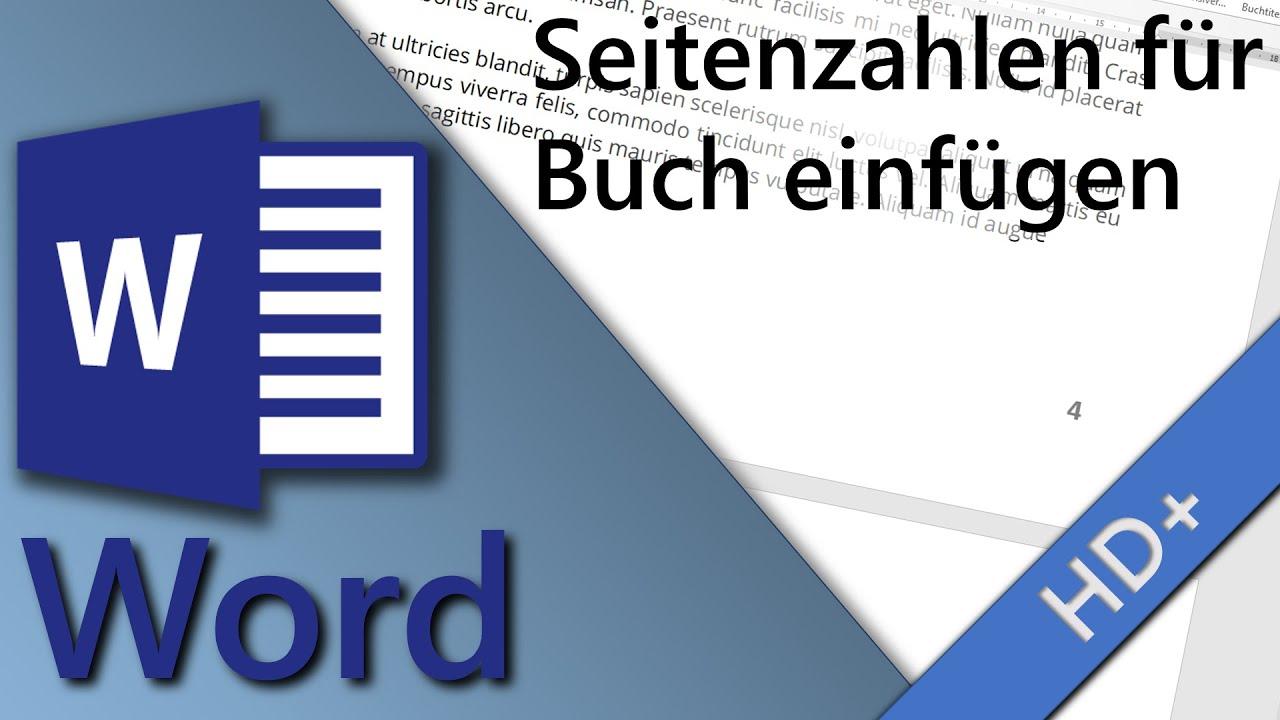 Word Seitenzahlen für Buch einfügen - YouTube