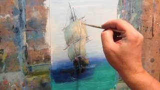 Oil painting. Seascape. Sailboat.