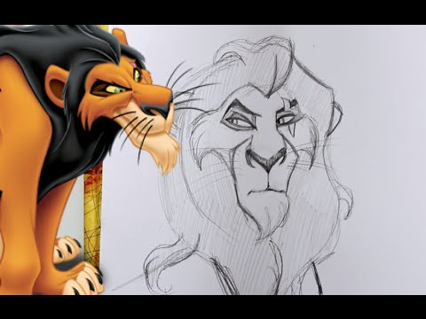 How To Draw SCAR From Disney's The Lion King- @dramaticparrot
