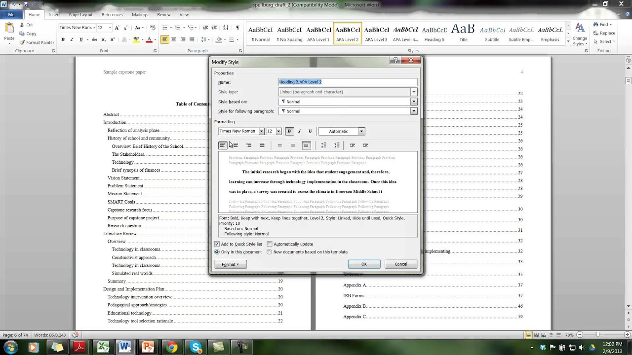Formatting The Table Of Contents In APA YouTube