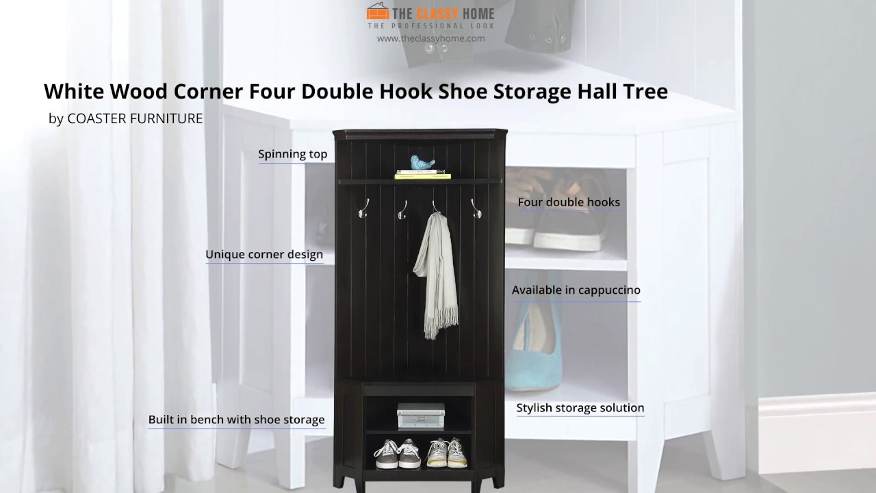 Corner Hall Tree With Shoe Storage For Entrance In Any Room   Entryway  Furniture