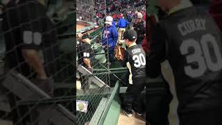 MLB Umpire Eric Cooper tossing up a ball tonight after the game in Arlington 04/20/18
