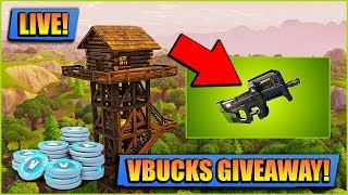 VBUCKS GIVEAWAY - NEW P90 SMG // FORTNITE LIVE // PLAYING WITH SUBS