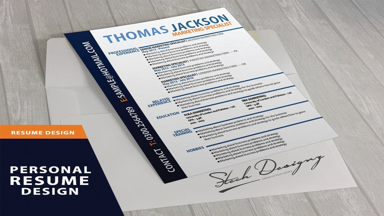 cv  resume template design tutorial with coreldraw x7 - stech designz - youtube - 2018