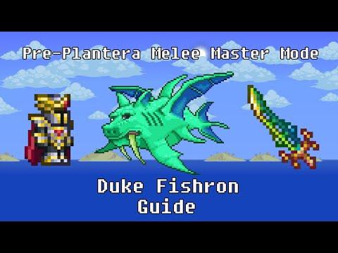 Terraria - How To Beat Duke Fishron Using Pre-Plantera Gear [Melee, Expert/Master Mode]