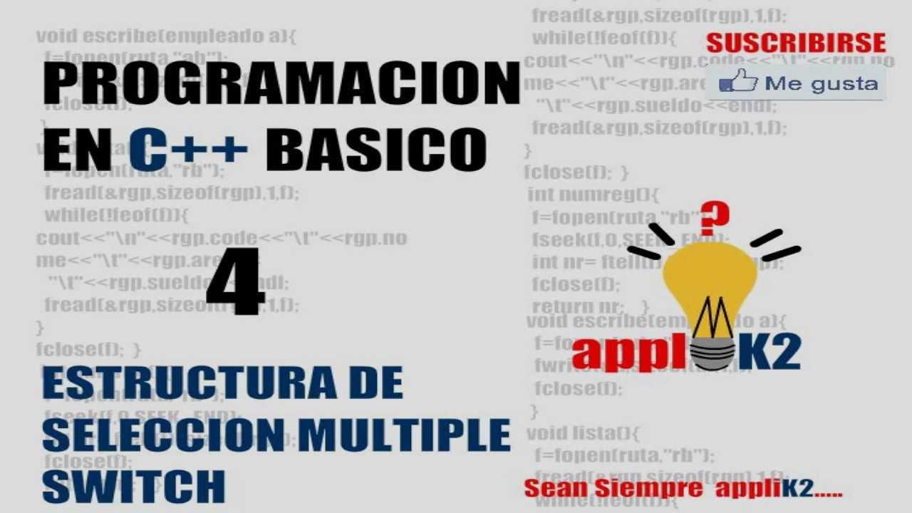 Tutorial De Programacion En C 04 Estructura De Seleccion Multiple Switch