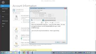 "Outlook 2013:  Setting Up Automatic ""Out of Office"" Replies"