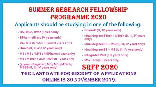 Summer Research Fellowship Programme 2020 (SRFP 2020) | Students | Faculty | 2Months |