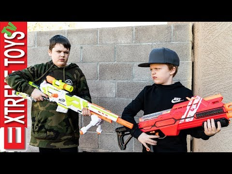 New Nerf Blaster Battle! Ethan Attacks Cole with Nerf Modulus Longstrike.