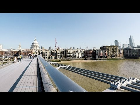 London. Walk From the Tate Modern Gallery to St. Paul's Cathedral