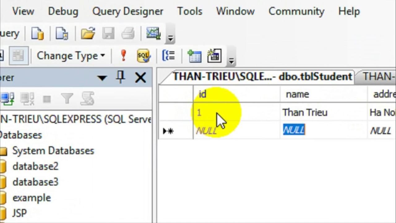 JDBC-02: Tạo database trên SQL Server.