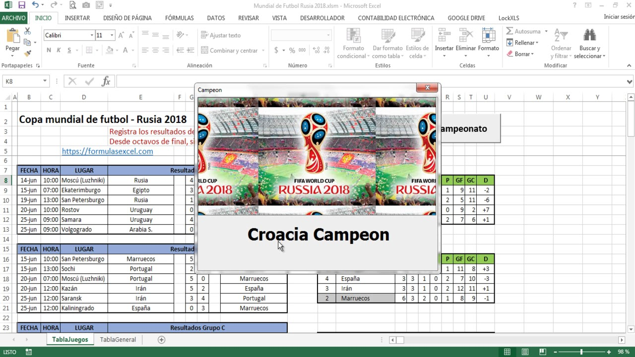 Mundial de Fútbol en Excel - Rusia 2018 - YouTube
