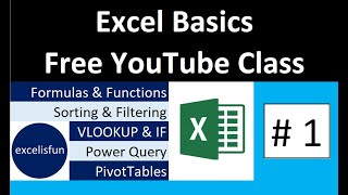 Free Excel Basics Course At YouTube