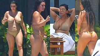 Kim Kardashian Look Alike Busty In Tiny Bikini
