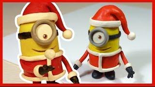 Лепим новогоднего Миньона Санта Клауса из пластилина. Minion made of plasticine. thumbnail