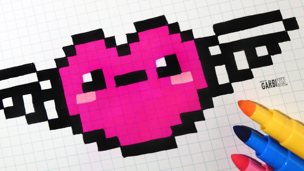 Handmade Pixel Art How To Draw Kawaii Heart With Wings Pixelart Kawaii