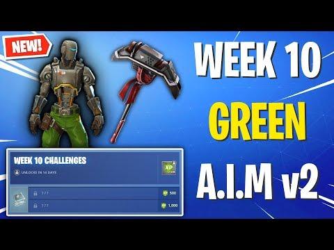 The GREEN A.I.M Skin WEEK 10 Reward! *Week 10 Challenges Skin* (Fortnite)