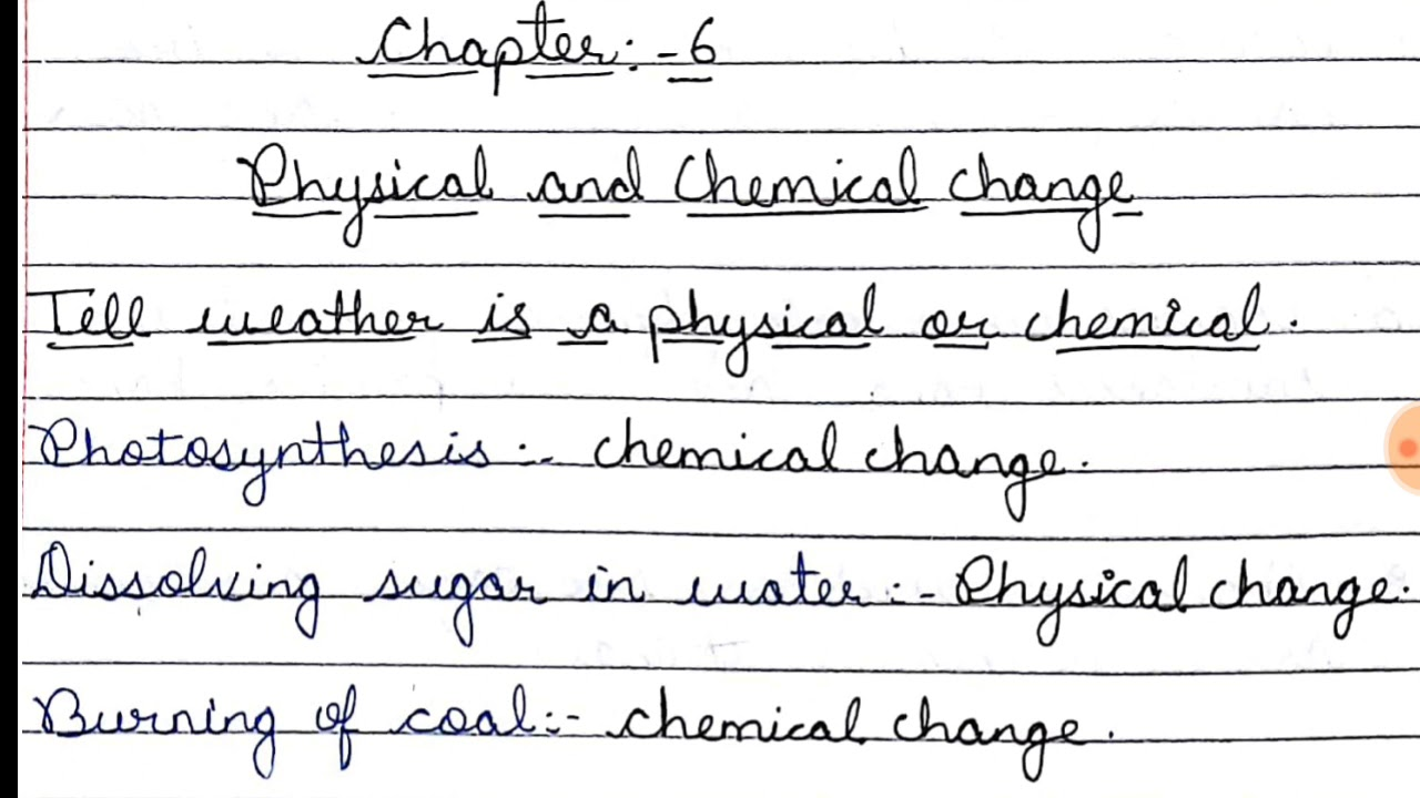 medium resolution of Physical and chemical change chapter 6 QUESTION ANSWERS full explaination  class 7th science - YouTube
