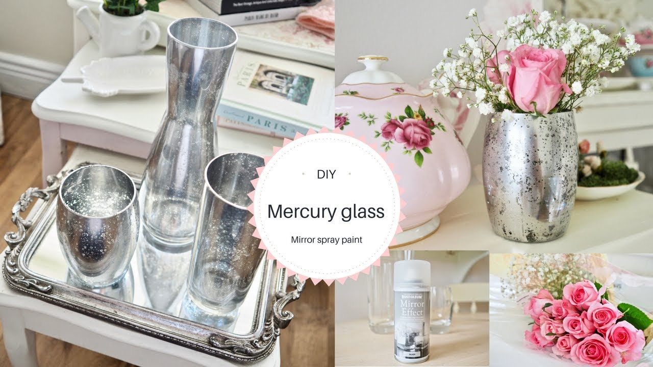 Mirror spray paint DIY, Mercury glass effect - YouTube