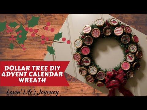 Dollar Tree DIY Advent Calendar Wreath - Christmas Countdown
