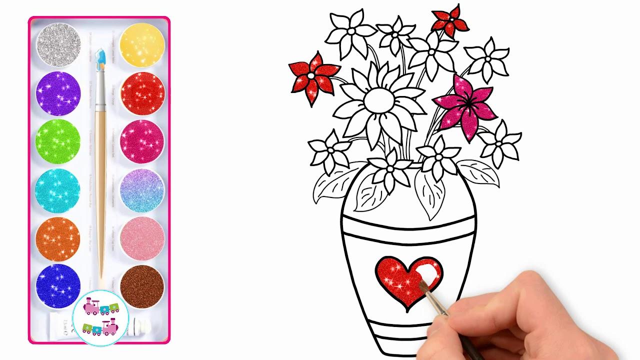 Coloriage Fleur Pot.Fleurs De Paillettes Dessin Et Coloriage Comment Dessiner Pot De