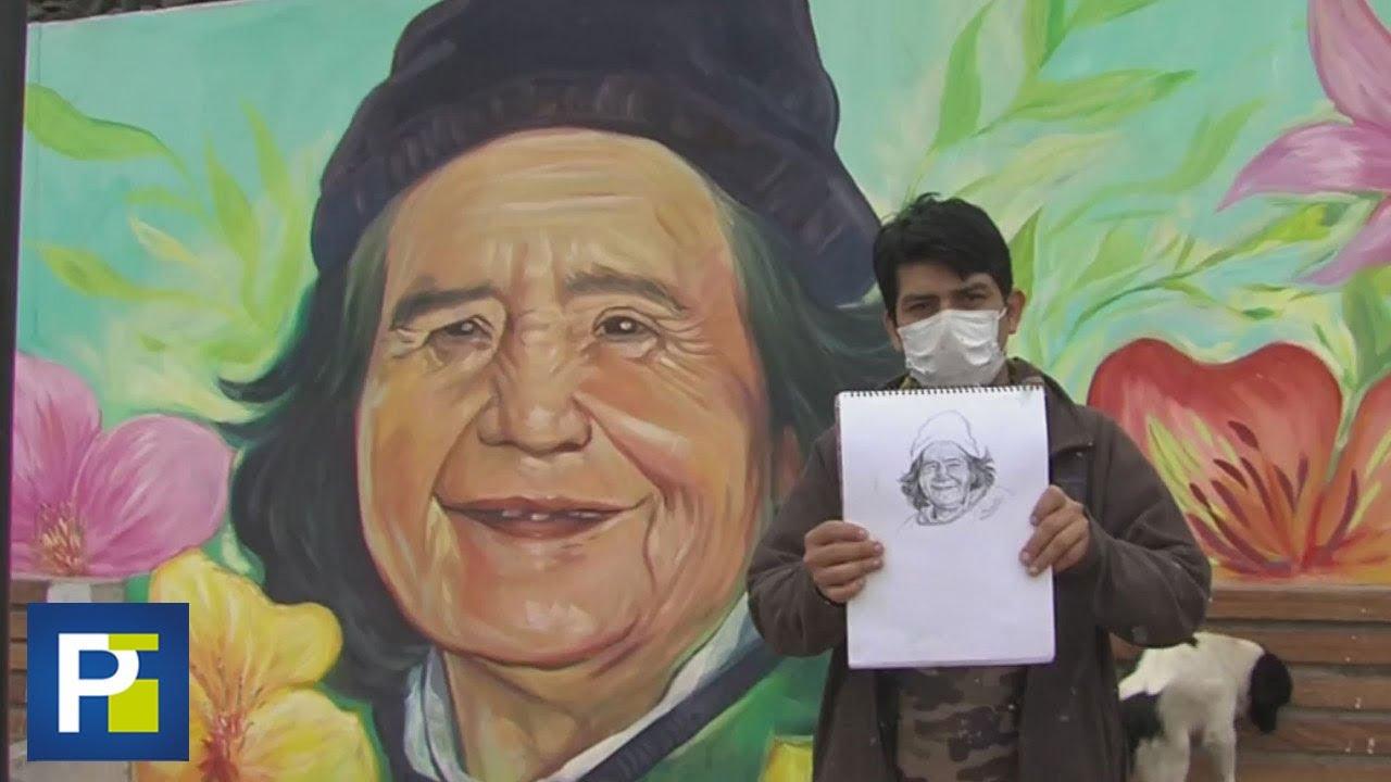 """""""Una manera de homenajearlos"""": los murales de un joven que retrata a las víctimas del covid-19"""