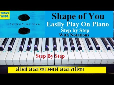 Shape Of You Piano/Keyboard Tutorial Easy, Slow, Step By Step And With Notations