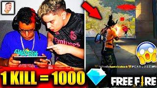 ¡LE DOY 1,000 DIAMANTES a MR STIVEN TC por KILL en FREE FIRE! *-20.000 DIAMANTES * TERMINO POBRE