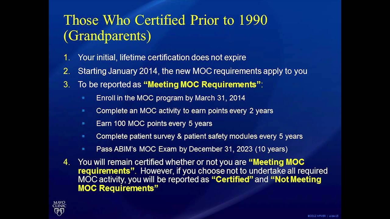 Dr  Ting Reviews the New ABIM Maintenance of Certification (MOC)  Requirements