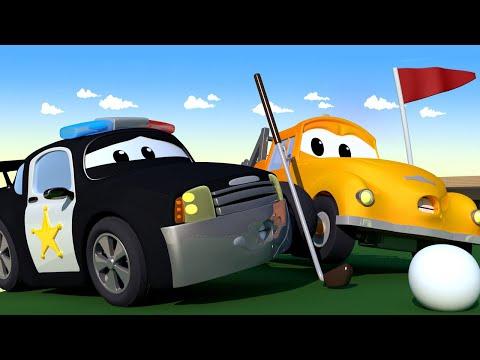 Tom Truk Derek 🚗  Mat Si Mobil Polisi MENABRAK Penny Si PESAWAT Saat Bermain GOLF - Kartun Mobil