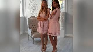 Розовые кружевные платья подружки невесты