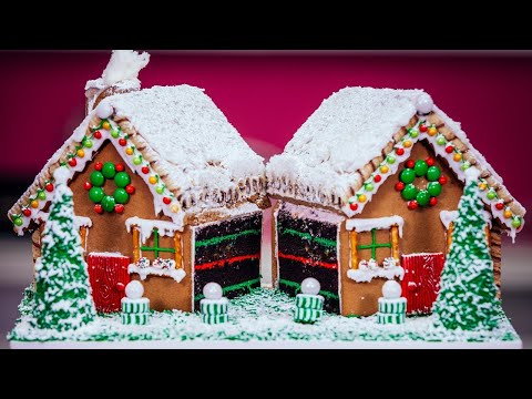 How To Make A Gingerbread House CAKE With Chocolate, Buttercream, Candy And Icing!