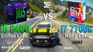 Intel Core i5-8400 vs i7-7700k Test in 7 Games