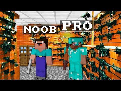 Noob vs Pro : GUN SHOP Minecraft Battle animation challenge