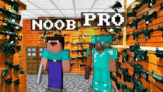 Noob vs Pro : GUN SHOP Minecraft Battle animation challenge
