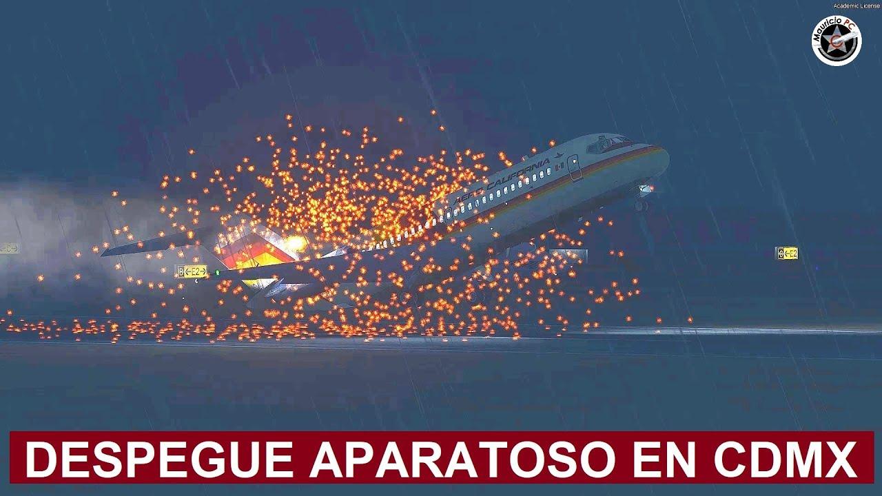 Aparatoso despegue en Ciudad de México - Vuelo Aero California 706