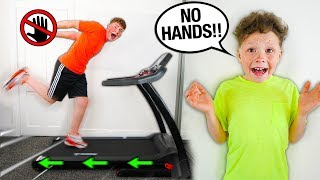 HANDS FREE Challenge w/LITTLE BROTHER!! (24 HOUR CHALLENGE)